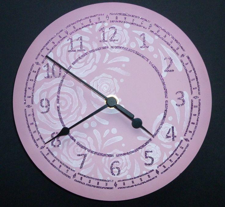 'White Rose' large MDF clock.   Imagination Craft's - Large MDF clock kit.   Clover Chalkies.  MDF paint-chalk.  Large rose circle stencil.  Metal spatula.  Silver rose Sparkle Medium.Large round clock face stencil.  January 2015.