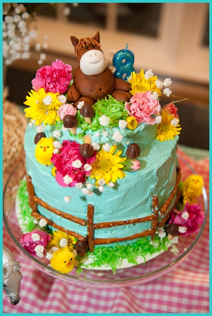 Horse cake, the simple part that i love ... using pretzel sticks for the fence