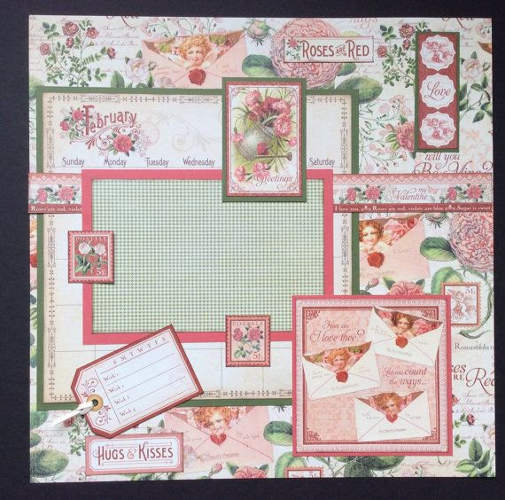 February Graphic 45 single 12x12 scrapbook layout calendar page, February Calendar Page, Premade 12x12 Layout, Valentine Page, Scrapbook Pg.