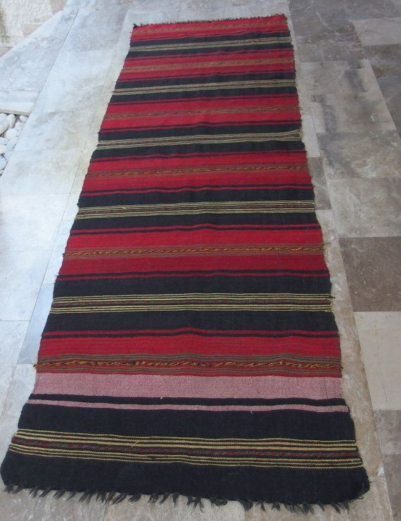 Antique Anatolian Kilim Rug Runner Striped by VintageHomeStories