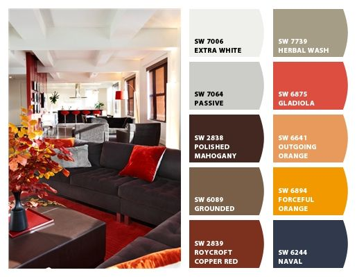 Chip It! by Sherwin-Williams – Home - I'd be thinking Passive or Herbal Wash maybe for the living room walls. Poss Outgoing Orange on the stairs instead of the brighter orange that's there now. Polished Mahogany-ish leather furniture plus the red chair.