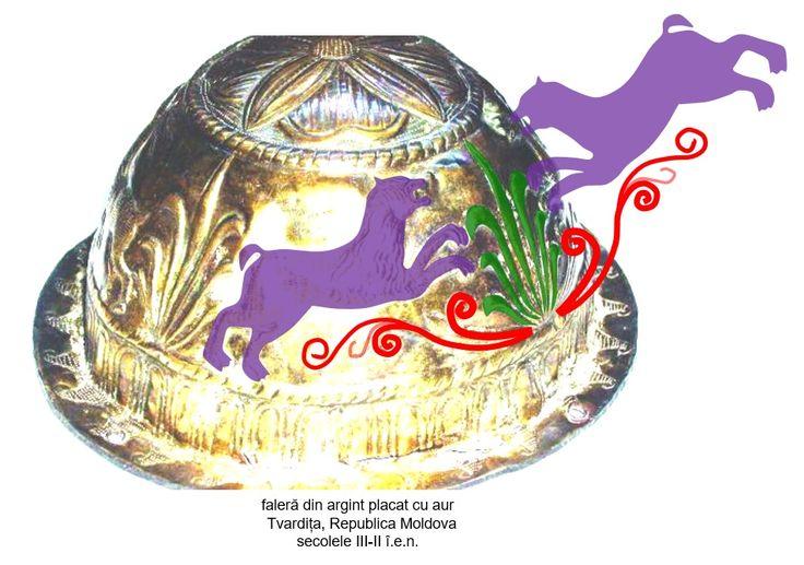 Faleră din argint aurit, descoperită la Tvardița, Republica Moldova, datată în secolele III-II î.e.n., azi pierdută. Două animale mitologice sunt afrontate față de Pomul Vieții, protejându-l.