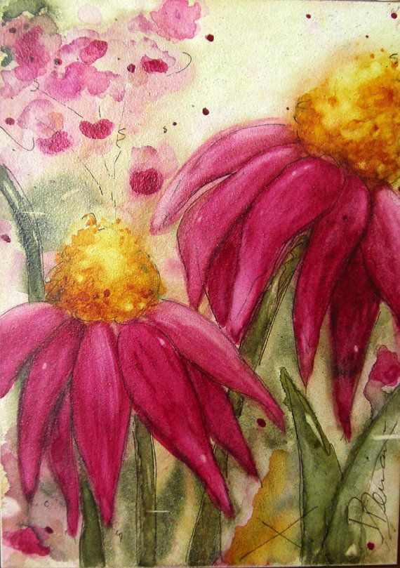 "Original Floral Art - Watercolor Painting of Wildflowers - Size: 5"" x 7"" on Etsy<3<3<3"