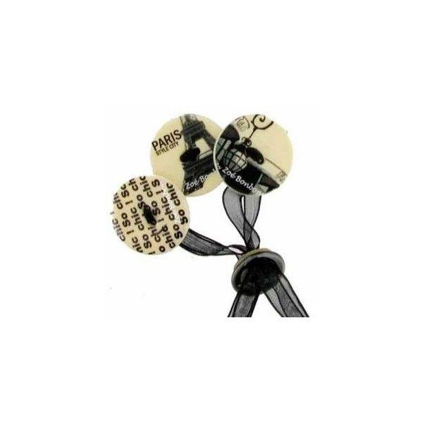 Bracelet de 3 boutons de nacres , Paris noir et Blanc