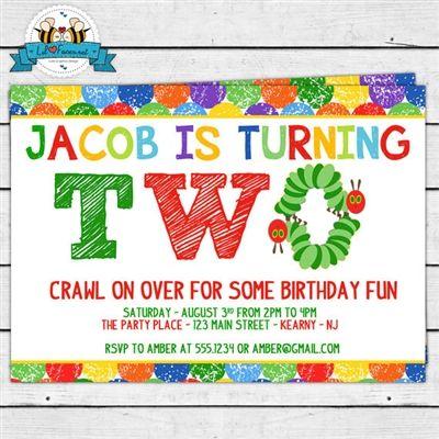 The Very Hungry Caterpillar Birthday Party second birthday invitation ...
