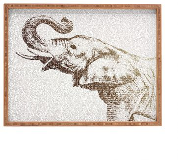 Belle13 The Wisest Elephant Rectangular Tray, Large - contemporary - Serving Trays - DENY Designs