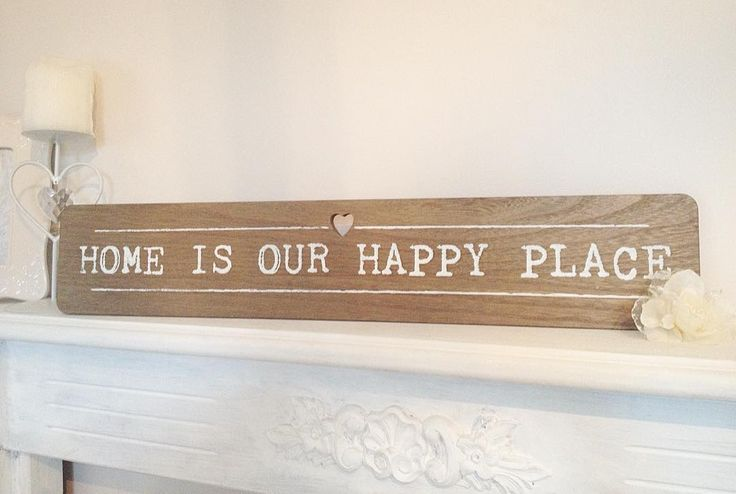 'Home is our happy place'  Beautiful wooden wall plaque with a cute little centre carved heart  8.99  Available to purchase at http://ift.tt/1ph5pTT  #hfh #hfhshop #homefromhome #homeware #homedecor #homequotes #homesweethome #gifts #newhomegifts #homeisourhappyplace #happyplace #newhome #woodenplaques #homeplaques