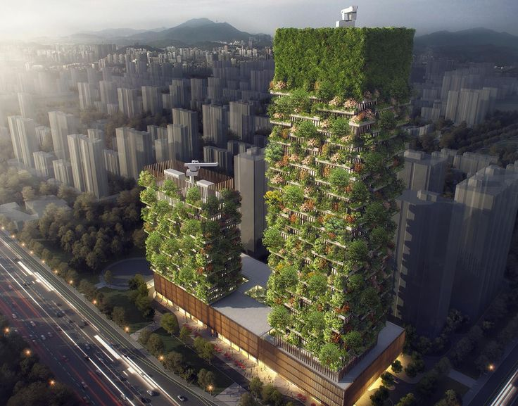Nanjing Towers, Nanjing Towers by Stefano Boeri Architetti. Stefano Boeri Architetti is bringing the vertical forest concept popularized in Milan to Nanjing, China with the Nanjing Towers. The two green towers could provide the city with a breath of fresh air, producing around 132 pounds of oxygen every day as they absorb carbon dioxide. They'll accomplish this air-cleaning feat with 1,100 flourishing trees from 23 local species and 2,500 cascading shrubs and plants.