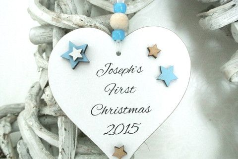 Personalised First Christmas Boy - Divine Shabby Chic