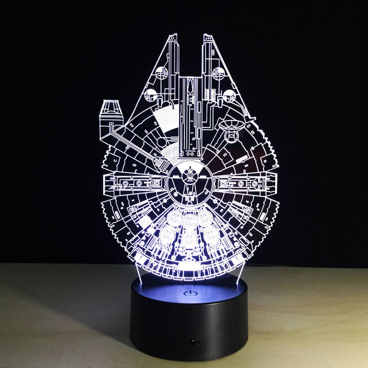 1pcs Touch screen 3D illusion Millennium Falcon frame Led desk light lamp with 7 kinds color changeable of flash in turn. #Affiliate