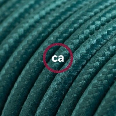 Round Electric Cable covered by Rayon solid color fabric RM21 Dark Green www.creative-cables.net USA: www.creative-cables.com #lighting #illuminazione #homedecor #deco #maison #haus #fashion #style #design #homedesign