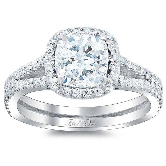Cushion Cut Halo Engagement Ring with Split Shank