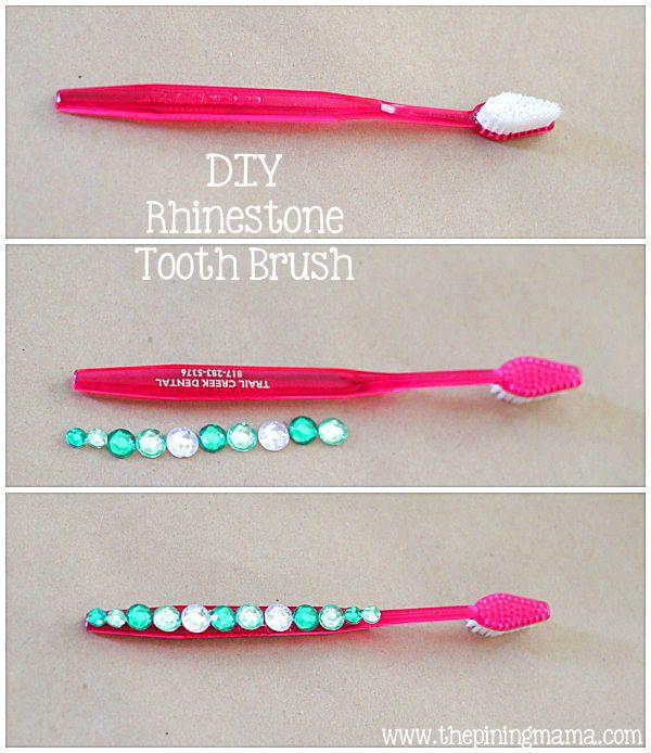 DIY Rhinestone Projects by The Pinning Mama   DIY Rhinestone Tooth Brush