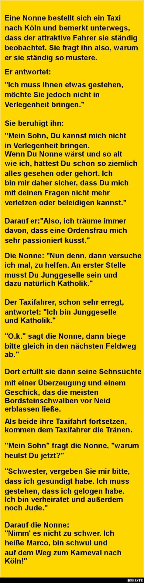 Eine Nonne Bestellt Sich Ein Taxi Nach Köln.. | DEBESTE.de, Lustige
