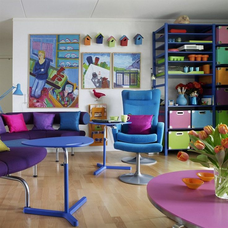 Blue Painted IKEA Ivar Shelving In A Colorful Danish Living Space