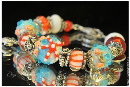 """Браслет """"Морской"""" - браслет,браслет морской,морская звезда,лэмпворк,авторский лэмпворк"""