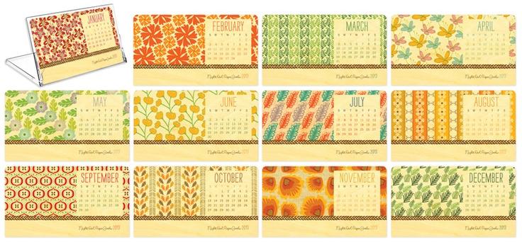 2013 Botanical Calendar handmade from eco-friendly birch wood