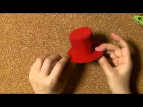 How to make a miniature hat, 簡単ミニハット、シルクハットの作り方 - YouTube