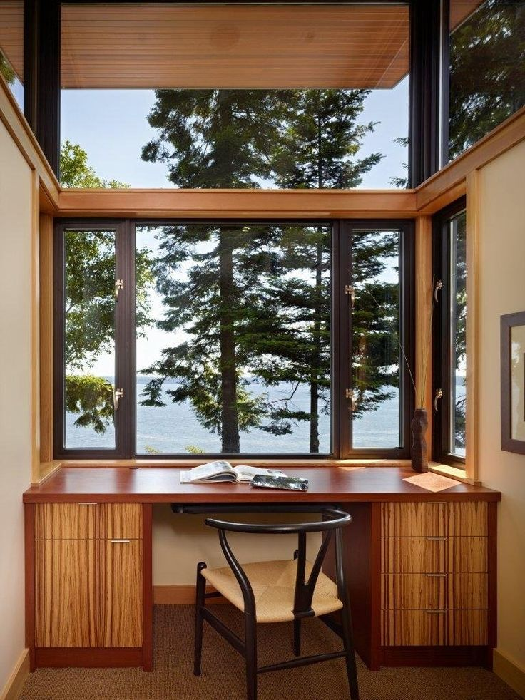 Check out this awesome workspaces with beautiful outdoor views design wooden office room with wood desk chair window