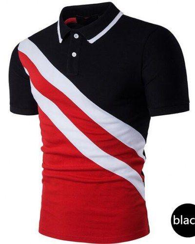 Geometric color block polo shirt for men
