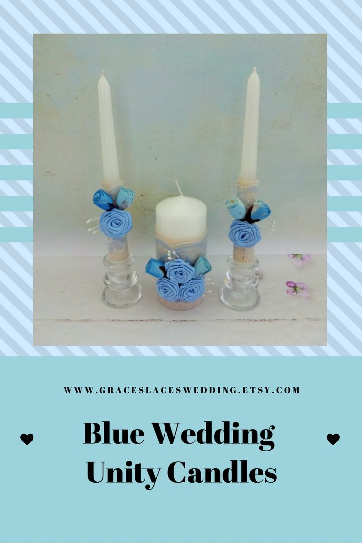 Blue wedding unity candles set embellished with burlap and lace and blue sola flowers, perfect for your Unity Cemony #unityceremony #unitycandleset #blueweddingcandles #weddingunitycandles #bluewedding