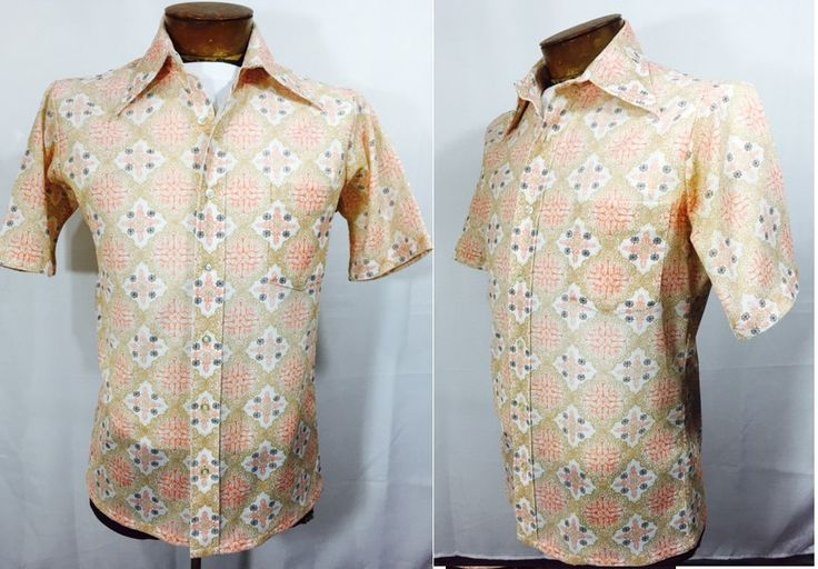 Vintage Shirt Men's Short Sleeve Shirt with Pocket and Starburst Pattern Mid Century Men's Atomic Fashion 60's Hipster Shirt by OffbeatAvenue on Etsy