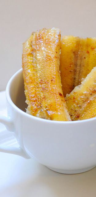bananas sprinkled with cinnamon and fried in coconut oil....mmm!