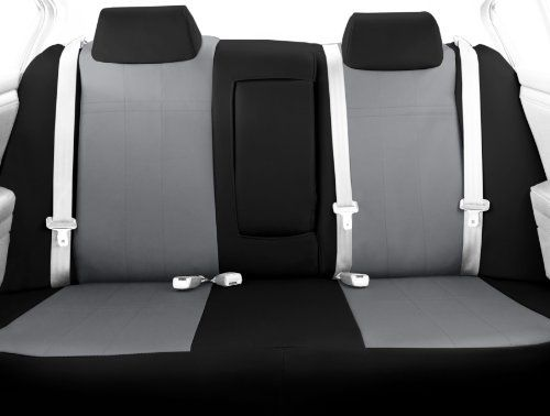 CalTrend Rear Row 4060 Split Back and Solid Cushion Custom Fit Seat Cover for Select Subaru ImprezaXV Crosstrek Models  I Cant Believe Its Not Leather Light Grey Insert with Black Trim * Visit the affiliate link Amazon.com on image for more details.