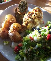 Charlottes Madblog: Kylling m/pikant ost/mozarella og honning stegte kartofler