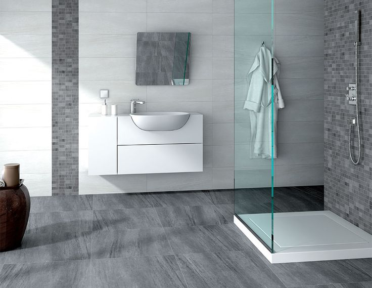 Colecci n kemberg de taugres cer micas blanco y gris con for Bathroom tile ideas b q