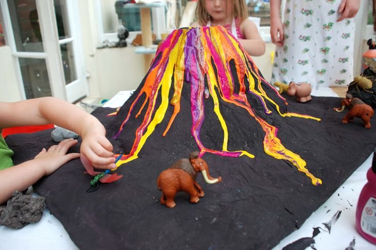 Papier Mache Volcano - awesome looking project with great tutorial on the link.  Your kids can use it for the baking soda experiment or use the inside of the volcano to store toys!