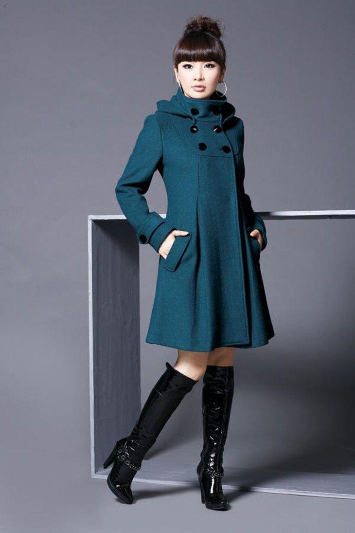 コート - 2013からずっと大人気作 レディースラシャコート ダブルブレスト 韓国スタイルロングスタイル フード付き スリット入りデザイン