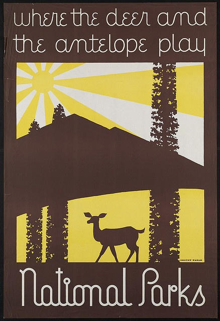 Where the deer and the antelope play: National Parks, by Dorothy Waugh. 1930s. via Boston Public Library