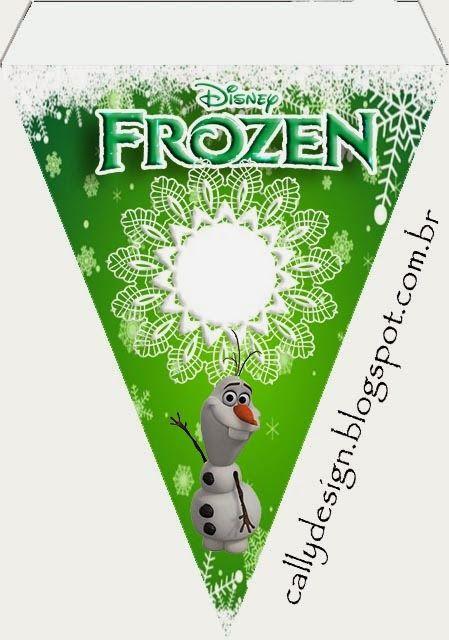 """Kit de Aniversário """"Frozen-Uma Aventura Congelante"""" Verde - CALLY'S DESIGN-Kits Personalizados Gratuitos"""