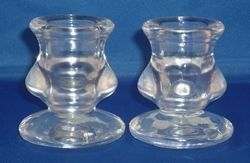 Clear Glass Candle Stick Holders from Absolute Angels A pair of Clear Glass mini candle stick holders Approx 6cm tall 5 5cm wide at base £5.00