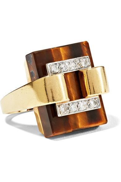 Shop Women's fashion  FRED LEIGHTON 1970s 18-karat gold, diamond and tiger's eye ring