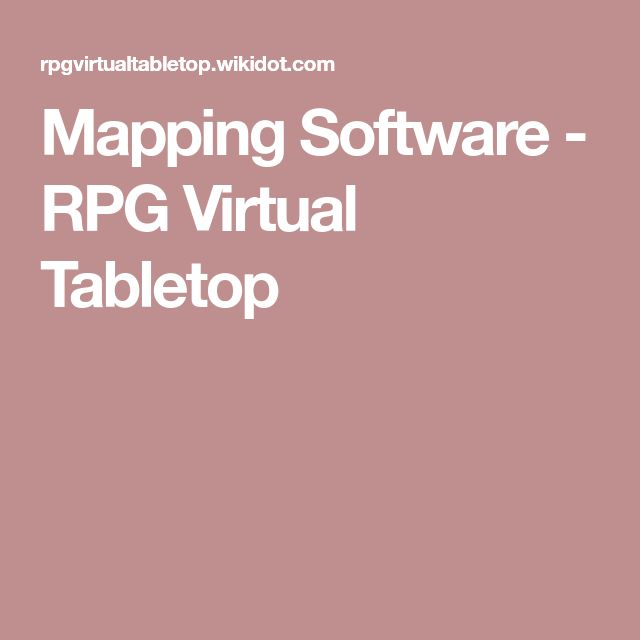 Mapping Software - RPG Virtual Tabletop