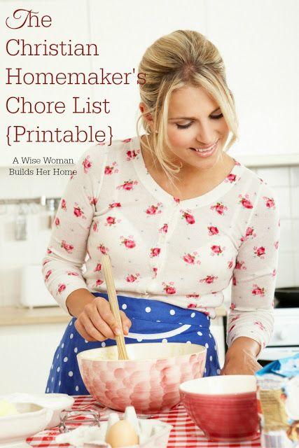 The Christian Homemaker's Chore List {Printable}