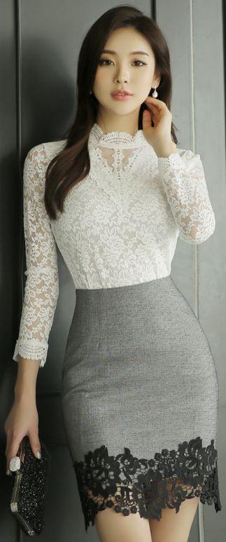 StyleOnme_Floral Lace Hem Pencil Skirt #gray #lace #feminine #pencilskirt #elegant #koreanfashion #kstyle #springtrend