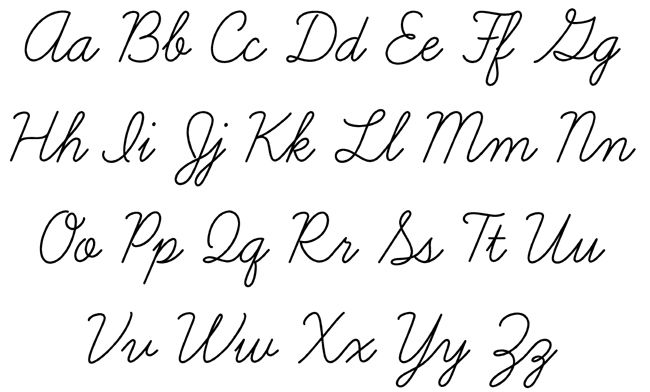 Letters Of The Alphabet In Cursive - Laptuoso