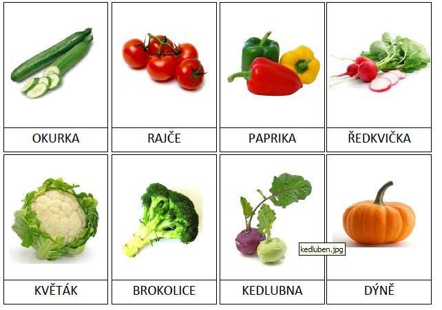 20 kartiček s obrázky zeleniny