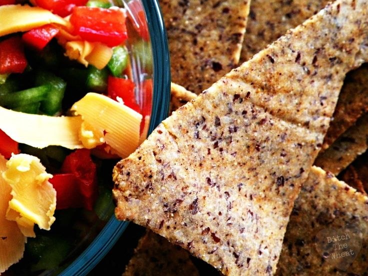 """Chile """"Doritos"""".  Made with almond meal and flaxseed, these chips are a great easy-to-make healthy snack."""