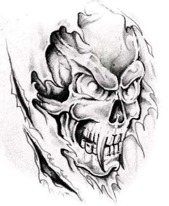 Evil Skull Tattoo Designs | Skulls are often combined with :