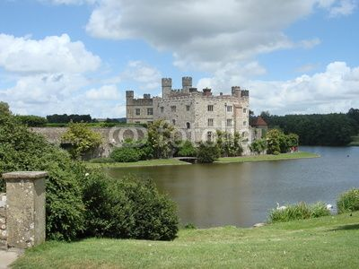 View over the Leeds castle, Kent, England, 5 miles (8 km) southeast of Maidstone.