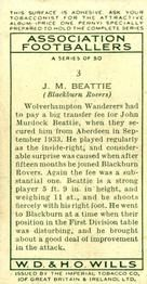 1935-36 W.D. & H.O. Wills Association Footballers #3 John Beattie  Back
