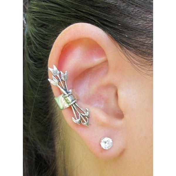 Silver Ear Cuff Arrow Ear Cuff Quiver and Arrows Ear Cuff Non-Pierced... ❤ liked on Polyvore featuring jewelry, earrings, ear cuff, purple jewelry, long earrings, silver earrings and silver jewellery