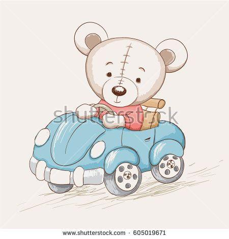 cute funny bear drive a car.Childish vector illustration