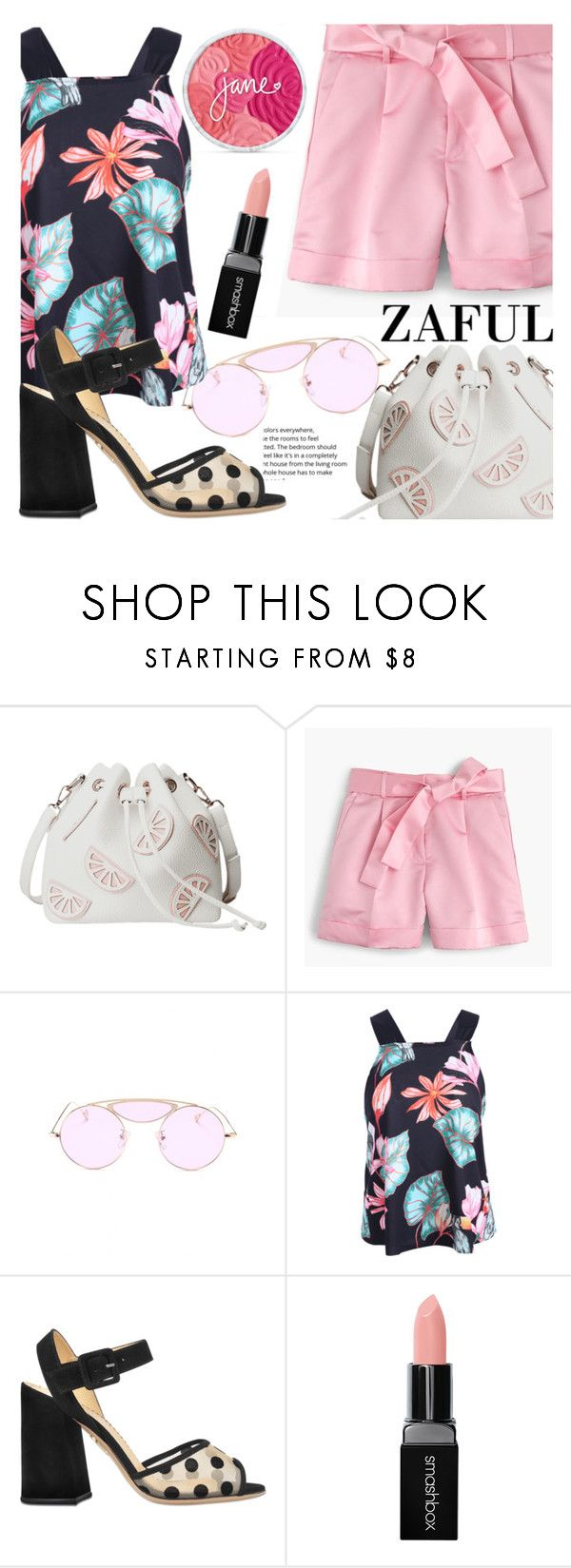 """""""Pinky Summer"""" by fattie-zara ❤ liked on Polyvore featuring J.Crew, Charlotte Olympia, Smashbox and zaful"""