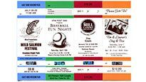 Ticketmaster Custom Tickets - Tickets for events and parties with 3 perforated stubs.