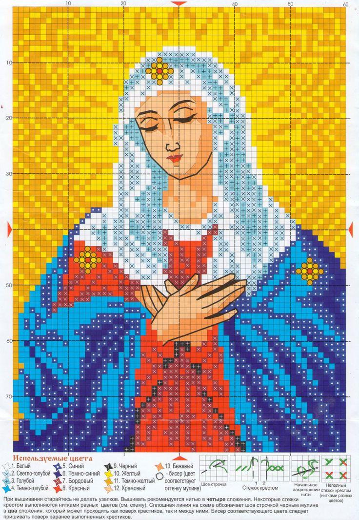 """Схема вышивки крестиком иконы """"Умиление"""" #православие #вышивка"""